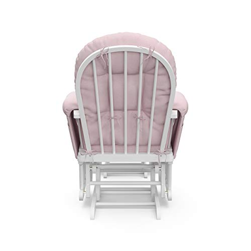 31zAc4uVBBL - Storkcraft Premium Hoop Glider And Ottoman (White Base, Pink Swirl Cushion) – Padded Cushions With Storage Pocket, Smooth Rocking Motion, Easy To Assemble, Solid Hardwood Base