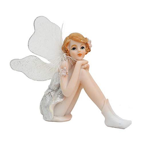 LY-Home Resin Fairy Statue Winged Miniature Fairy Figurine White Angel Girl Flower Fairy Sculptures Indoor Decor Wedding Decoration