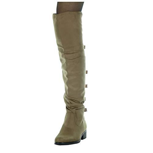 De Botas Angkorly Zapatillas Flexible Caqui 5 Talón Moda Altas Cm Piel Alto 3 Cavalier Ancho Forrada Plantilla Mujer Tacón Nodo txn5qnrw