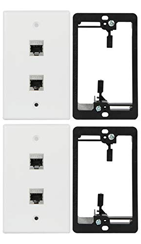 Wi4You RJ45 Wall Plate 2 Port, Single Gang Cat6 Wall Plate White + Mounting Bracket + Cat6A Jack for CAT5/CAT5E/CAT6/CAT6A Rated Ethernet Cables Connection (CAT6A-2port, 2pack)