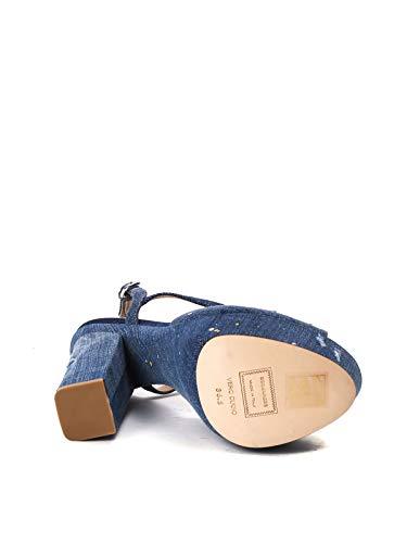 Femme Coton S17c5065333085 Dsquared2 Bleu Sandales HXfgxqnT