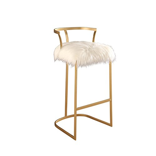 Cheap Abbyson Faithe MD-P165833V  Faux Fur Bar Stool, White/Gold