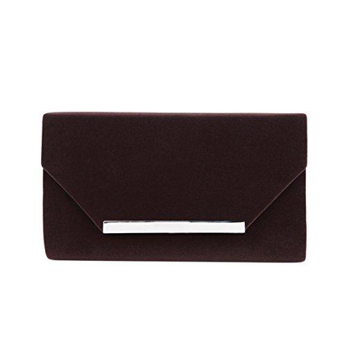- Elegant Solid Color Velvet Clutch Evening Bag Handbag, Coffee