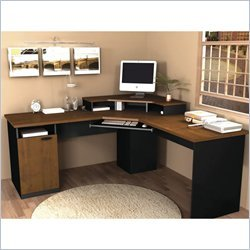 Corner Work Station in Sand Granite & Charcoal (Tuscany Brown & Black) by Bestar