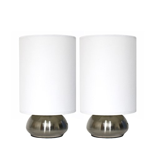 Simple Designs LT2016-IVY-2PK Gemini Brushed Nickel 2 Pack Mini Touch Lamp Set with Fabric Shades, Ivory