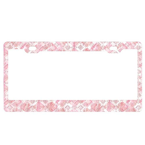 Customized Frames License Plate Frame for Women/Girls,Aluminum Metal Car Licenses Plate Cover Tag - Harlequin Marble Mix -