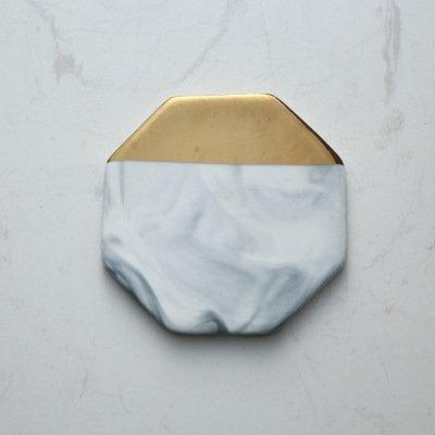 Blue Stones European Style Marble Stripes Ceramic Coaster Round Square Hexagon Porcelain Desktop Non-slip Mug Cup Mat Pad Gilt Luxury Decor