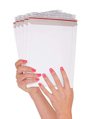 ABC 25 Pack Rigid envelopes 7 x 9 Paperboard mailers 7x9 Stay Flat Chipboard envelopes. White Rigid Photo Document Mailer. No Bend, for Shipping Photos, Prints. Peel and Seal. Wholesale price.