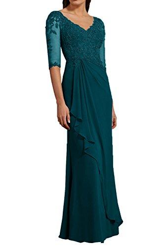 Lang Abendkleider mia Elegant Tuerkis La Ballkleider Chiffon Neu Abschlussballkleider 2018 Braut Partykleider Dunkel Brautmutterkleider Pdqqwa