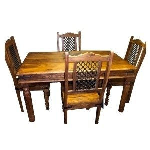 Indian Furniture Thakat Dining Table With 4 Jali Chairs Set 5 X 3 Feet