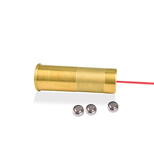 Young go New 12 Gauge Cartridge Laser Bore Sight, 12GA Red Dot Laser Boresighters, Red Copper 12GA Rifle Hunting Optics Scope Laser Bore Sight Sighter