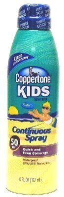 Coppertone Kids Sunscreen Continuous Spray SPF 50, 6 oz (Pack of 6)