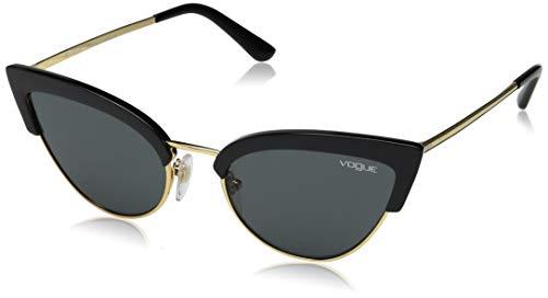Vogue Women's Plastic Woman Sunglass Cateye, BLACK/GOLD, 55 mm (Vogue Cat Eye)