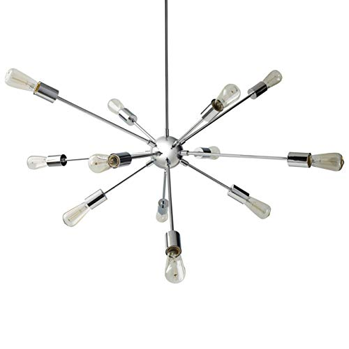 Rivet Mid-Century Modern Sputnik Hanging Ceiling Chandelier With 12 Light Bulbs – 35 x 34 Inches, 25 – 61 Inch Cord, Chrome