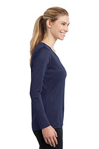 Sport-Tek mujeres de manga larga V cuello PosiCharge competidor Tee Azul marino