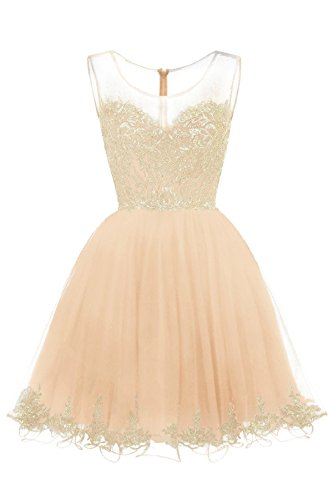 - WDING Sweet 16 Dress for Girls Short Ball Gown Tulle Gold Lace Prom Dress Champagne,4