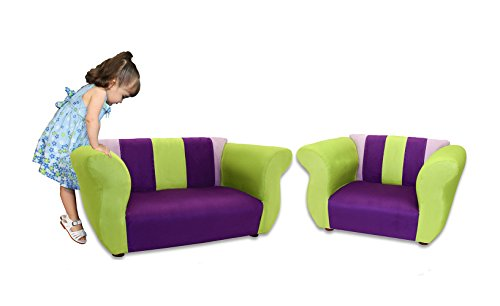 KEET Sofa and Chair Fancy Kid's Set, Purple/Green