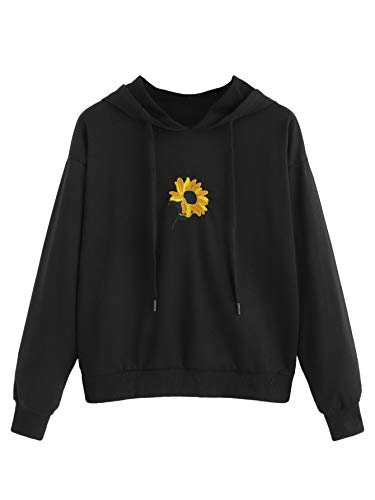 SweatyRocks Women's Floral Print Long Sleeve Hoodie Casual Drawing Sweatshirt Pullover Crop Top