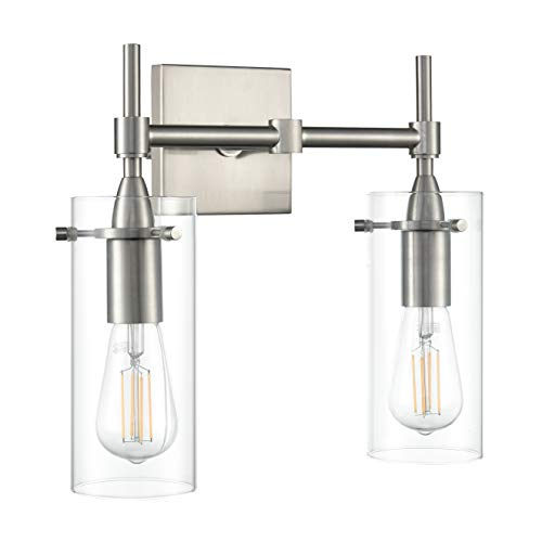 Effimero 2 Light Bathroom Vanity Light | Brushed Nickel Hallway Wall Sconce LL-WL32-1BN