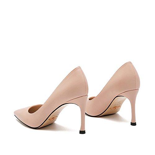 Frauen Sexy High Heels Arbeit Business Pumps Damen Elegante Spitzschuh Schuhe NudeColor
