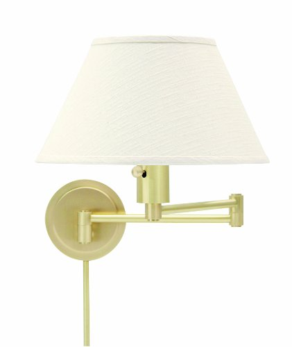 Bedroom Linen Vanity (House Of Troy WS14-51 Home/Office Collection Swing-Arm Wall Lamp, Satin Brass with Off-White Linen Hardback Shade)