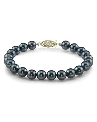 THE PEARL SOURCE 14K Gold 8-8.5mm Round Black Japanese Akoya Saltwater Cultured Pearl Bracelet for Women