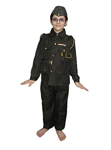 Kaku Fancy Dresses National Hero/Freedom Figter Subhash Chandra Bose Costume -Green, 7-8 Years, for ()