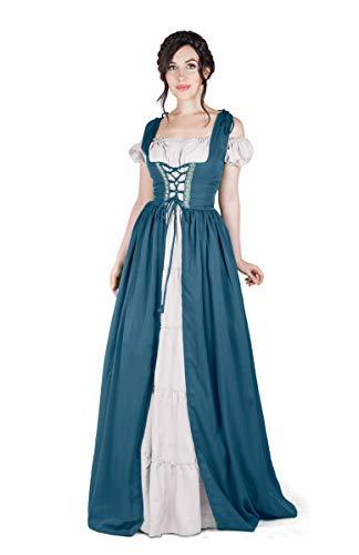 Boho Set Medieval Irish Costume Chemise and Over Dress (XXS/XS, Teal/White)