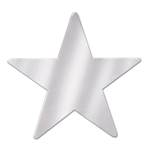 Beistle 57027-S Silver Metallic Star Cutouts, 3-1/2 Inch (Value -