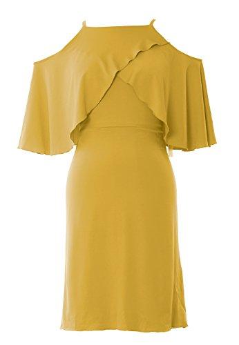 Cocktail Bridesmaid Off Women MACloth Wedding Short Party Gown Gold Dress Shoulder CZTqxA