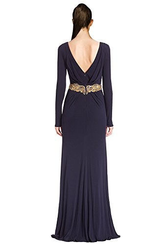 Badgley Mischka Couture Embellished V-Neck Evening Gown Dress Navy