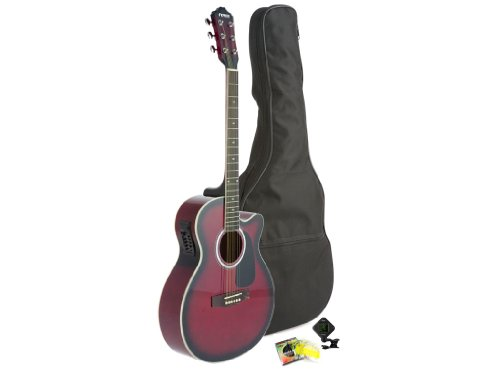Fever Full Size Jumbo Body Steel String Acoustic-Electric Guitar Red with Bag, Tuner and Strings, 5015CE-RD