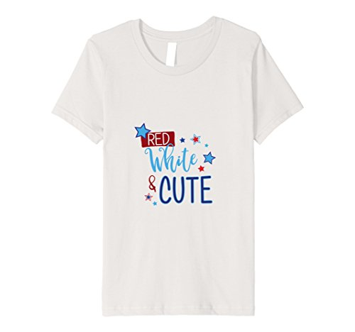 unisex-child Youth Girls Red White & Cute Graphic Tee for 4th of July 12 Silver