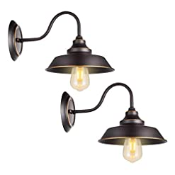 Farmhouse Wall Sconces Retro Gooseneck Wall Lamp Wall Sconce Iron Durable Indoor Wall Fixture, Oil Black Finish with Highlights and Metal Shade… farmhouse wall sconces