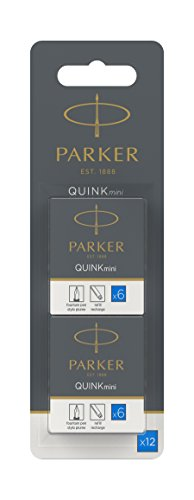 Parker Quink Fountain Pen Refills, Short Cartridges, Washable Blue Ink, Pack of 2 x 6