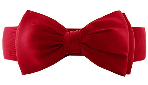 - Women Cute Skinny Leather Belt Patent Elastic Bow Belt Solid Color Snap On,Red,One Size