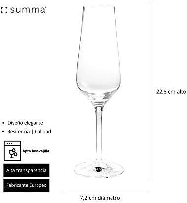Summa - Juego de Copas de Champán. Set 6 unidades. 230ml/23cl | Cristal, alta transparencia y borde fino | Uso en casa, restaurante y fiestas |