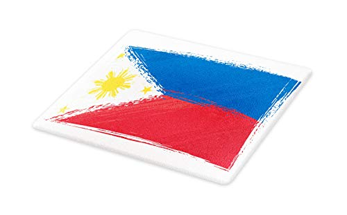(Ambesonne Filipino Cutting Board, Artistic Brush Stroke Style Grungy Philippines National Flag Print, Decorative Tempered Glass Cutting and Serving Board, Large Size, Cobalt Blue Yellow and Red)