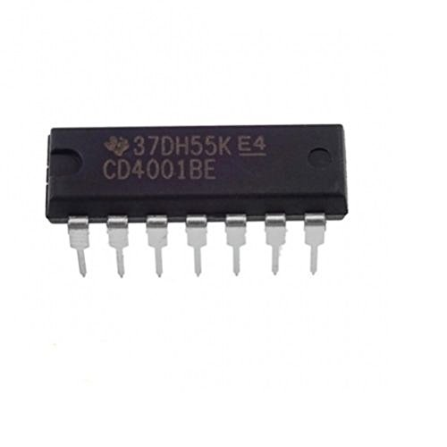 Texas Instruments CD4001BE IC CMOS Quad 2-Input NOR Gate (Pack of 5)