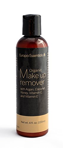 Europa Essentials Organic Makeup Remover (with Argan, Coconut, Honey, Vitamins C & E, and Aloe), 4oz (120ml)
