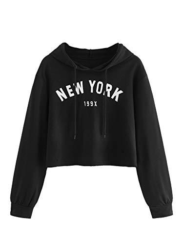 MAKEMECHIC Women's Letter Printed Crop Top T-Shirt Long Sleeve Pullover Hoodies Black ()
