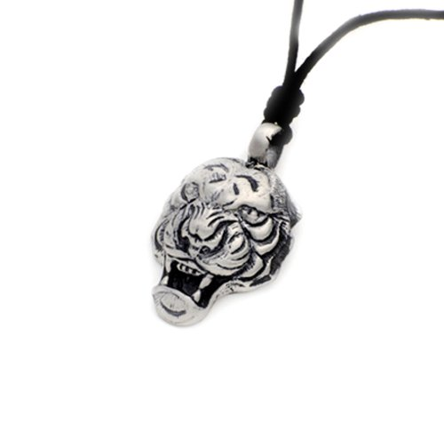 Tiger Cat Strength Silver Pewter Charm Necklace Pendant Jewelry