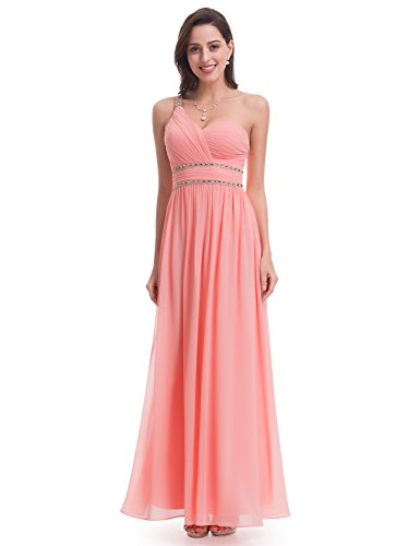 Ever-Pretty Womens One Shoulder Beaded Prom Dress 8 US Peach