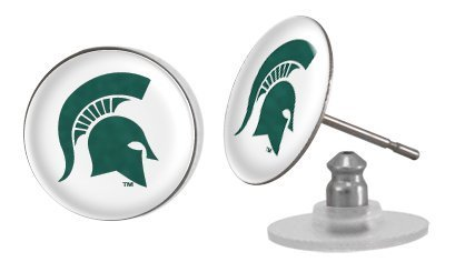Michigan State Spartans Stud Post Domed Earrings with NCAA College Sports Team Logo by Stockdale