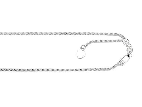 Finejewelers 14k White Gold 22 Inch bright-cut Adjustable Popcorn Chain Necklace Lobster Clasp Small Heart Charm