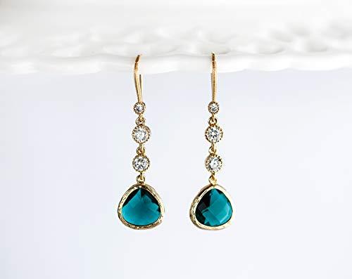 - Emerald earrings Dangle earrings gold Emerald green earrings Green briolette earrings Crystal earrings Green drop earrings Rhinestone 131.