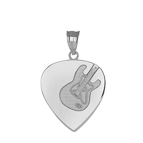(Sterling Silver Pick Electric Guitar Musician Charm Pendant)