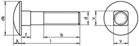 10 Stk DIN 603 A2 M 8X25//25 Flachrundschraube m.Vierkantansatz EDELSTAHL V2A A2