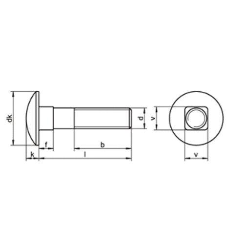 DIN 603 A2 M 6X45//45 Flachrundschraube m.Vierkantansatz EDELSTAHL V2A A2 20 Stk
