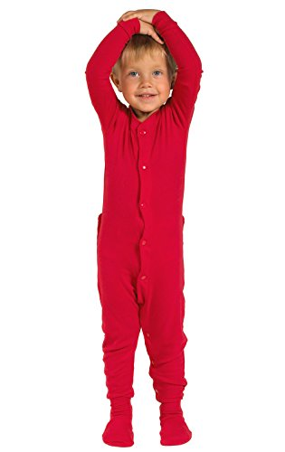 (PajamaGram Cotton Dropseat Footie Onesie Pajamas, Red, 5T)